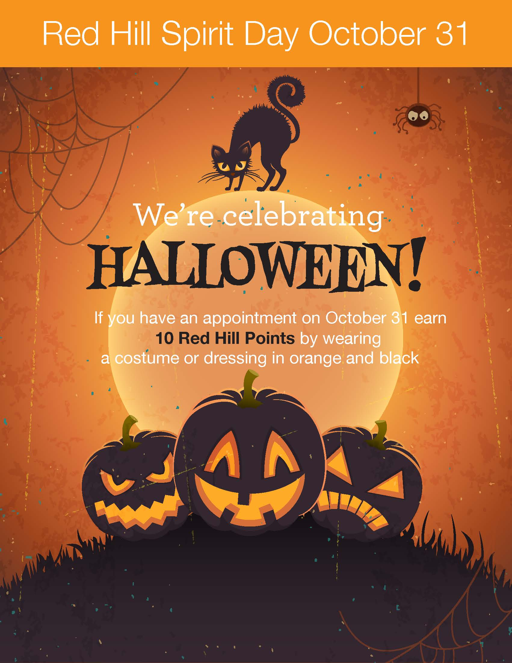 halloween spirit day ~ earn extra red hill points!!!